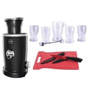 novis-vita-juicer-s1-sort-inkl-4-glas,-1-kande,-1-cocktailske,-1-skaerebraet-og-2-knive